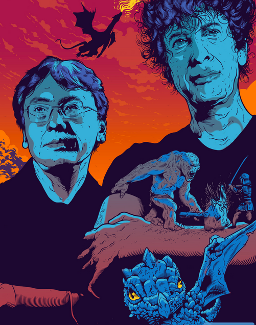 Kazuo Ishiguro and Neil Gaiman. Illustration: Tim McDonagh. In the New Statesman